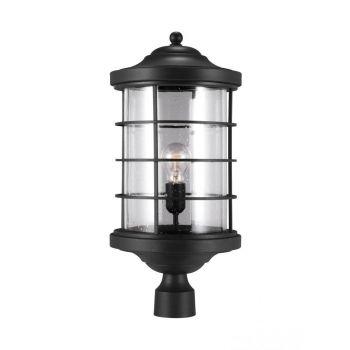Sea Gull Lighting Sauganash 1-Light Outdoor Post Lantern in Black