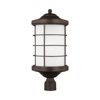Sea Gull Lighting Sauganash 1-Light Outdoor Post Lantern in Antique Bronze
