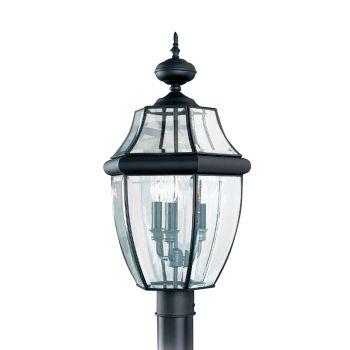 Sea Gull Lighting Lancaster 3-Light Outdoor Post Lantern in Black