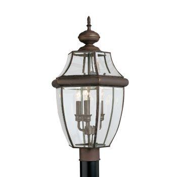 Sea Gull Lighting Lancaster 3-Light Outdoor Post Lantern in Antique Bronze