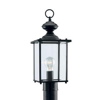 Sea Gull Lighting Jamestowne 1-Light Outdoor Post Lantern in Black