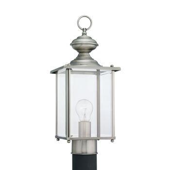 Sea Gull Lighting Jamestowne 1-Light Outdoor Post Lantern in Antique Brushed Nickel