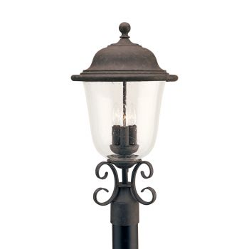 Sea Gull Lighting Trafalgar 3-Light Outdoor Post Lantern in Oxidized Bronze