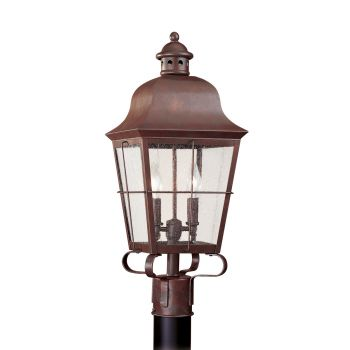 Sea Gull Lighting Chatham 2-Light Outdoor Post Lantern in Weathered Copper