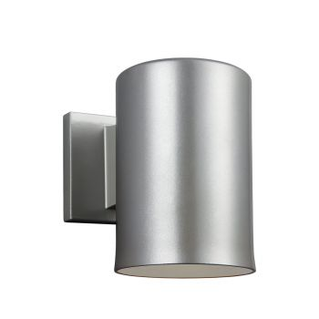 Sea Gull Lighting Outdoor Bullets 1-Light Outdoor Wall Lantern in Painted Brushed Nickel