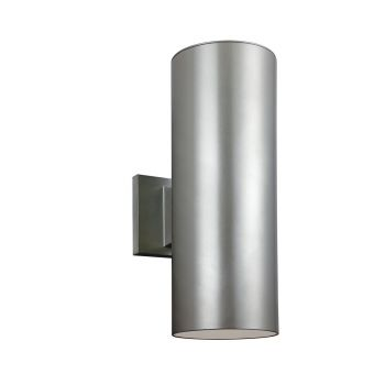 Sea Gull Lighting Outdoor Bullets 2-Light Outdoor Wall Lantern in Painted Brushed Nickel