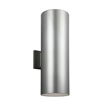 Sea Gull Lighting Outdoor Bullets Large 2-light Outdoor Wall Lantern in Painted Brushed Nickel
