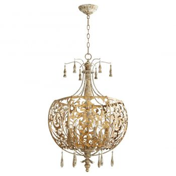 "Quorum Leduc 22"" 6-Light Pendant in Florentine Gold"