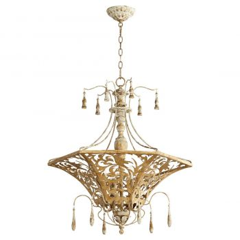 "Quorum Leduc 27"" 6-Light Pendant in Florentine Gold"
