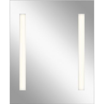 "Elan Mir 32"" LED 2-Strip Backlit Mirror with Soundbar in Frosted Glass"