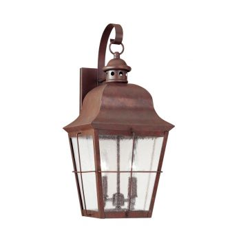 "Sea Gull Lighting Chatham 21"" 2-Light Outdoor Wall Lantern in Silver"