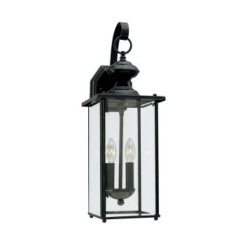 Sea Gull Lighting Jamestowne 2-Light Outdoor Wall Lantern in Black
