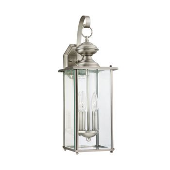 Sea Gull Lighting Jamestowne 2-Light Outdoor Wall Lantern in Antique Brushed Nickel