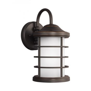Sea Gull Lighting Sauganash Small 1-Light Outdoor Wall Lantern in Antique Bronze
