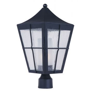 """Maxim Lighting Revere 19"""" Outdoor Seedy/Frosted Post Mount in Black"""