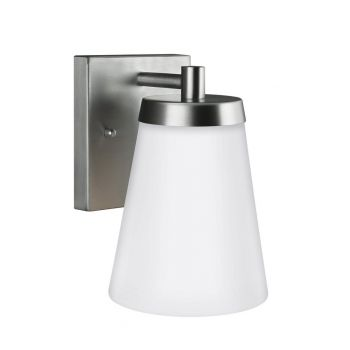 "Sea Gull Lighting Renville 5.25"" Outdoor Wall Sconce in Satin Aluminum"