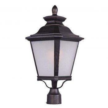 """Maxim Knoxville EE 22.75"""" Outdoor Frosted Seedy Post Lantern in Bronze"""