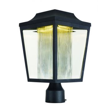 """Maxim Villa 15.5"""" LED Outdoor Clear Ribbed Post Lantern in Anthracite"""