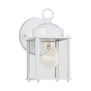 Sea Gull Lighting New Castle 1-Light Outdoor Wall Lantern in White