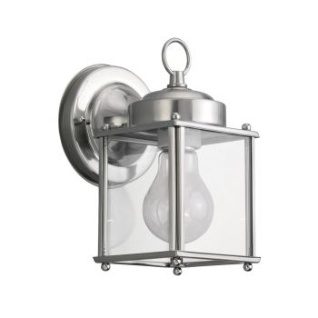 Sea Gull Lighting New Castle 1-Light Outdoor Wall Lantern in Antique Brushed Nickel