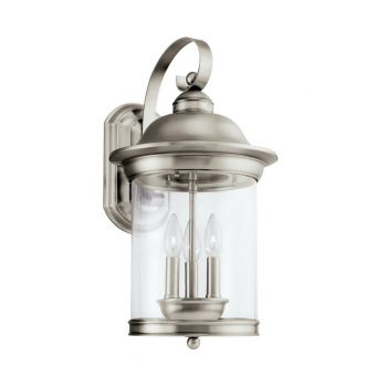Sea Gull Hermitage 3-Light Outdoor Wall Lantern in Antique Brushed Nickel
