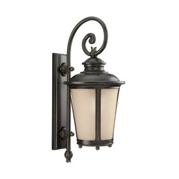 Sea Gull Lighting Cape May Large LED Outdoor Wall Lantern in Burled Iron