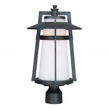 "Maxim Lighting Calistoga 19"" LED Outdoor Satin White Post Lantern in Adobe"
