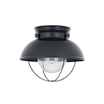 Sea Gull Lighting Sebring 1-Light Outdoor Ceiling Flush Mount in Black
