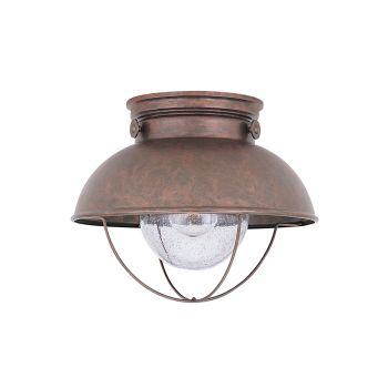 Sea Gull Lighting Sebring 1-Light Outdoor Ceiling Flush Mount in Weathered Copper
