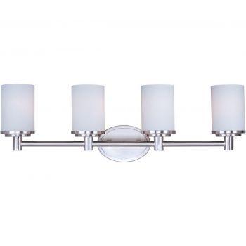 "Maxim Cylinder 29"" 4-Light Satin White Bath Vanity in Satin Nickel"