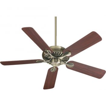 """Quorum Pinnacle 52"""" 5-Blade Indoor Ceiling Fan in Antique Brass"""