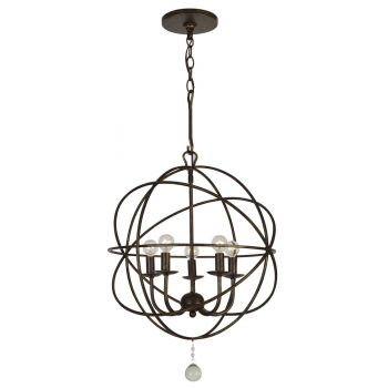 "Crystorama Solaris 5-Light 19"" Mini Chandelier in English Bronze with Clear Glass Drops Crystals"