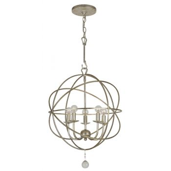 "Crystorama Solaris 5-Light 19"" Mini Chandelier in Olde Silver with Clear Glass Drops Crystals"