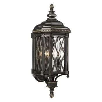 "The Great Outdoors Bexley Manor 4-Light 25"" Outdoor Wall Light in Black with Gold Highlights"