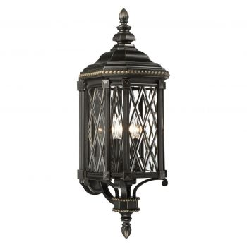 "The Great Outdoors Bexley Manor 4-Light 32"" Outdoor Wall Light in Black with Gold Highlights"