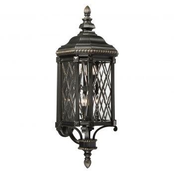 """The Great Outdoors Bexley Manor 6-Light 38"""" Outdoor Wall Light in Black with Gold Highlights"""