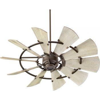 """Quorum International Windmill 52"""" Indoor Ceiling Fan in Oiled Bronze"""