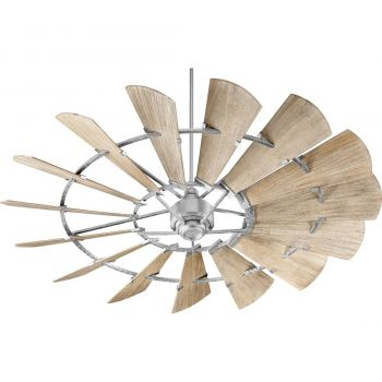 "Quorum Windmill 72"" 15-Blade Indoor Ceiling Fan in Galvanized"