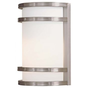 """The Great Outdoors Bay View 10"""" Outdoor Wall Light in Brushed Stainless Steel"""