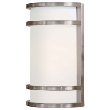 "The Great Outdoors Bay View 2-Light 12"" Outdoor Wall Light in Brushed Stainless Steel"
