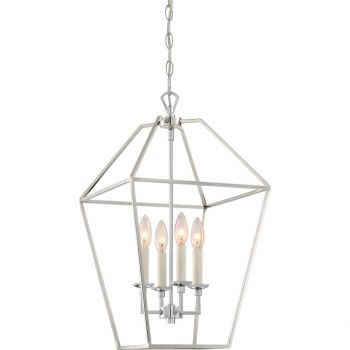 "Quoizel Aviary 13"" 4-Light Foyer Chandelier in Polished Nickel"