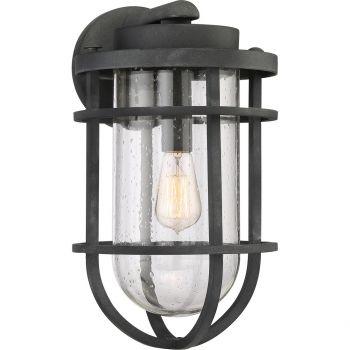 """Quoizel Boardwalk 17.25"""" Clr Seedy Outdoor Lantern in Mottled Black"""