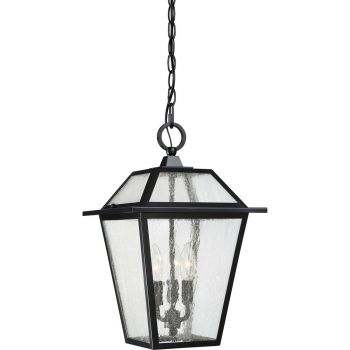 "Quoizel Black Ridge 11"" 3-Light Outdoor Hanging Lantern in Mystic Black"
