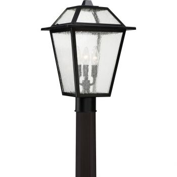 "Quoizel Black Ridge 17"" 3-Light Outdoor Post Lantern in Mystic Black"
