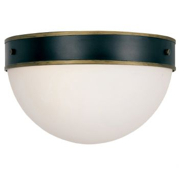 "Crystorama Capsule 2-Light 8"" Outdoor Ceiling Light in Matte Black And Textured Gold"