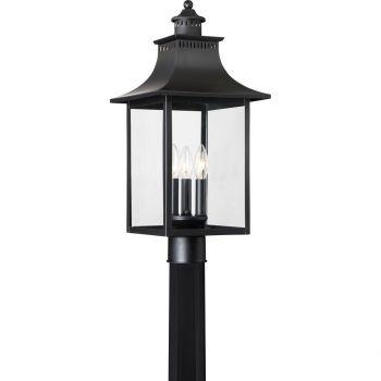 "Quoizel Chancellor 22"" 3-Light Outdoor Post Lantern in Mystic Black"