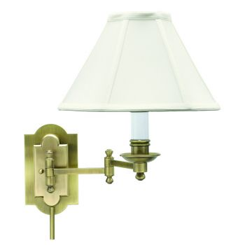House of Troy Club Antique Brass Swing-arm Wall Lamp