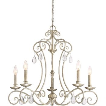 "Quoizel Chantelle 28"" 5-Light Chandelier in Vintage Gold"