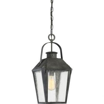 "Quoizel Carriage 10"" Outdoor Hanging Lantern in Mottled Black"
