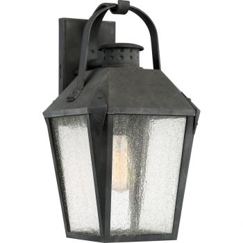 """Quoizel Carriage 19"""" Outdoor Wall Lantern in Mottled Black"""